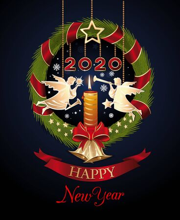 New Year 2020. Fir-tree wreath with Christmas angels and candle. Vector illustration