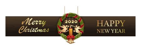 New Year design 2020. Merry Christmas and Happy New Year. Celebratory banner with a Christmas wreath, angels, a burning candle and a congratulatory inscription. Vector illustration Illustration