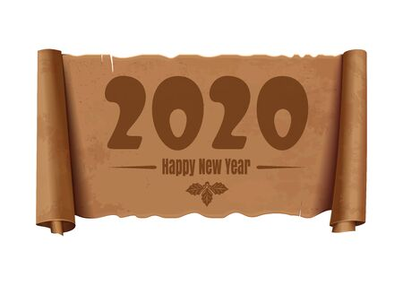 Happy New Year 2018. An unfolded vintage scroll with a congratulatory inscription. Christmas text design. Vector illustration isolated on white Illustration
