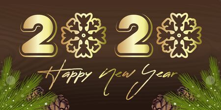 2020 Happy New Year - golden inscription on wooden background. Stylized inscription with snowflakes instead of zeros. Vector illustration