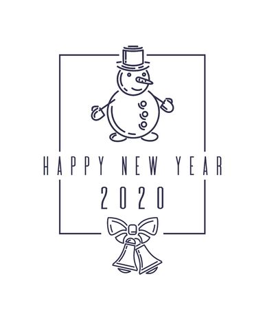 Christmas design with snowman. Happy New Year 2020. Christmas lettering isolated on white background. Stylish blue text on white. Vector illustration