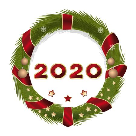 New Year 2020. The inscription inside the Christmas wreath of fir branches. Vector illustration isolated on white Illustration