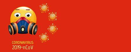 The 2019 novel coronavirus 2019-nCov poster. coronavirus banner, concept design. Emoji in a respirator on a red background. Vector illustration