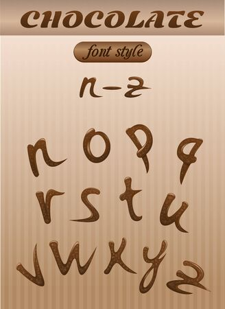 Vector letter of chocolate. letters of the latin alphabet made of chocolate. N - Z. Font style. Illustration