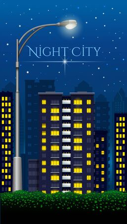 Street lamp in the night city. Night city. Megapolis at night. Urban Landscape. Vector illustration Çizim