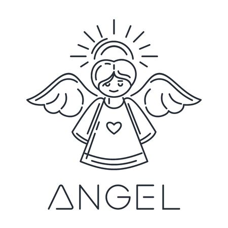Angel line icon. Minimalistic design. Flying angel with halo and wings. Vector illustration isolated on white