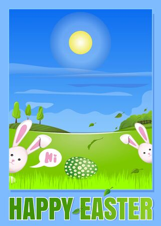 Spring landscape with cute Easter bunnies. Easter egg in the young green spring grass. Easter greeting card. Happy Easter. Vector illustration