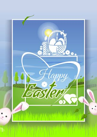 Spring landscape with cute Easter bunnies. Basket with Easter eggs on the background of young green spring grass. Easter greeting card. Happy Easter. Vector illustration