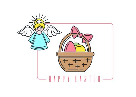 Easter line icon with angel and basket with easter eggs. Vector illustration