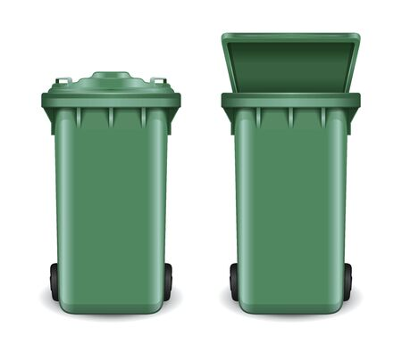 Dumpster in open and closed condition. Trash can on wheels. Green recycling bin bucket for trash. Realistic vector illustration isolated on white background Vettoriali