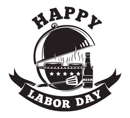 Labor Day logo design with grill barbecue BBQ