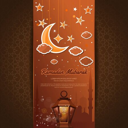 Greeting card for the holy month of Ramadan. Ramadan Mubarak. Greeting card with a moon, stars, mosque and arabic lamp against the background of traditional arabic ornaments. Vector illustration Ilustração