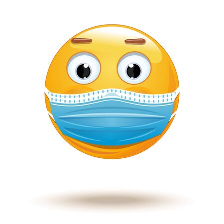 Emoji in medical mask. Medical mask emoji icon. Emoji wearing a protective surgical mask. Citizen wears a medical face mask so as not to become infected with a coronavirus. Vector illustration