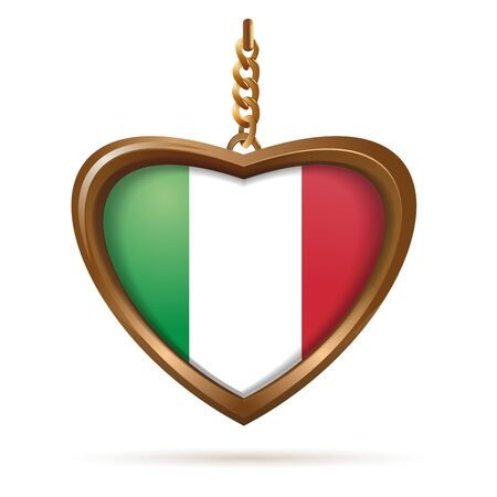Heart shaped medallion with Italian flag inside. Italian heart-shaped tricolor. Vector illustration isolated on white Çizim