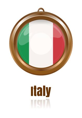 Gold medallion with Italian flag. Italian tricolor, il Tricolore. Flag of the Italian Republic. Vector illustration isolated on white background