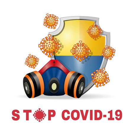 Respirator and coronavirus bacteria on the background of a shield with the image of the flag of Ukraine. Stop coronavirus Covid-19 concept design. Vector illustration Vectores