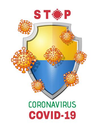 Viruses attack shield with flag of Ukraine. Stop coronavirus Covid-19. Protecting Ukraine from the epidemic of coronavirus concept design. Vector illustration