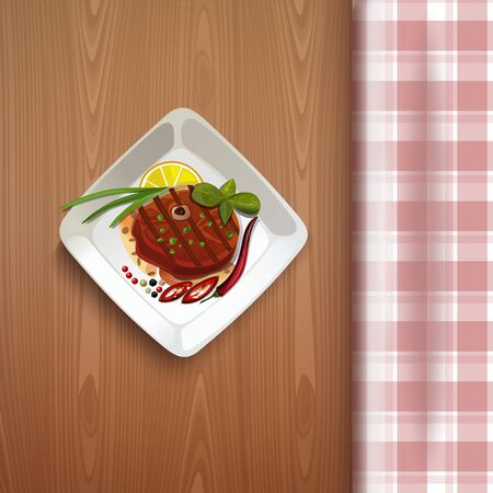 Red fish on a wooden table. Vector illustration