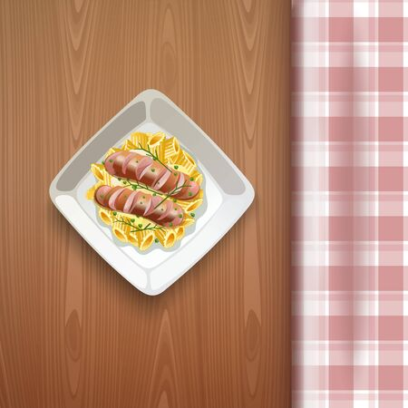 Sausages with pasta and greens. Vector illustration