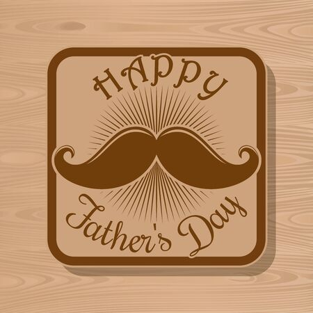 Happy Fathers Day icon for greeting card on wooden background. Vector illustration