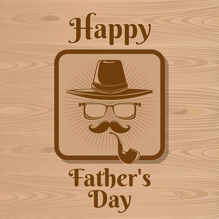 Happy Fathers Day icon for greeting card. Abstract image of a mustachioed gentleman with a hat, glasses and a pipe. Vector illustration Vettoriali