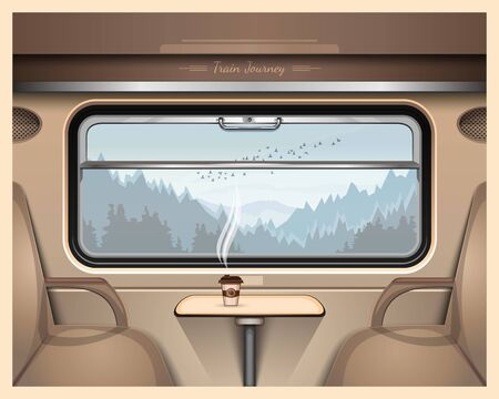 Taiga and mountains outside the train window. A glass of coffee on a table in a train car. Train Journey. Vector illustration Illustration