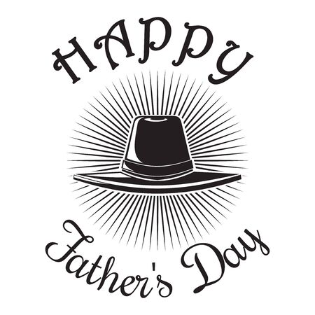 Fathers Day card. Happy Fathers Day. Mens hat icon isolated on white background. Vector illustration