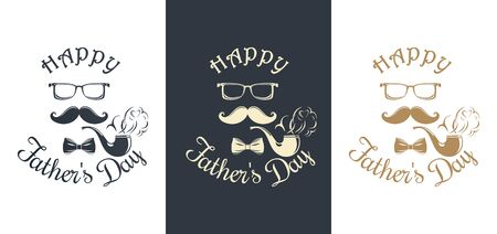 Set Fathers Day card. Pipe, mustache, glasses, bow tie and greeting inscription - Happy Fathers Day. Vector illustration