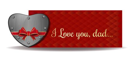 Fathers Day card. Iron heart tied with red ribbon on the background of a greeting card. Gold greeting inscription on an abstract red background - I love you, dad. Vector illustration