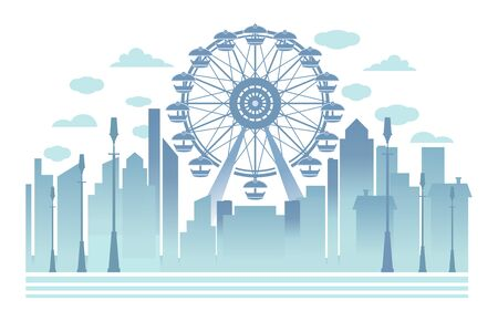 Ferris wheel towers over the city. Cityscape