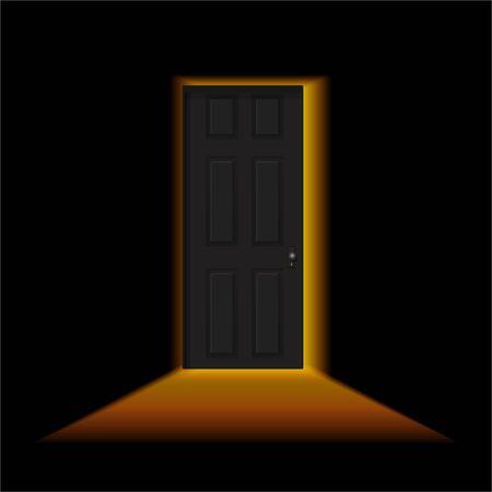 Ajar door in a dark room. Light outside the door. Black door in a dark room with shining light. Vector illustration