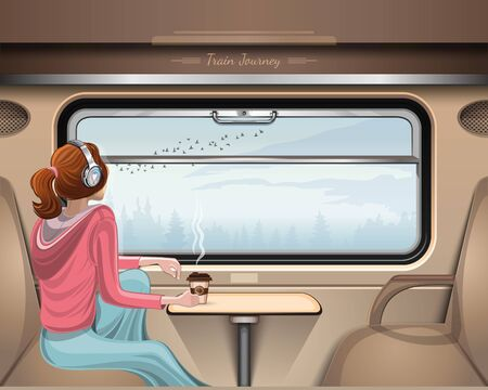 Girl in headphones travels by train and looks at the birds flying outside the window. Train Journey. Girl listens to music and looks out the train window. Vector illustration