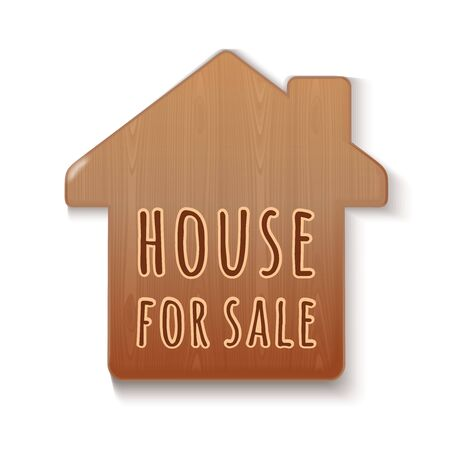 House for sale - text on a wooden house. Wooden sign. Sell house. For sale tag. Vector illustration isolated on white
