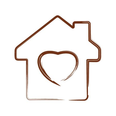 Vector heart symbol on house silhouette background. Vector illustration isolated on white 向量圖像