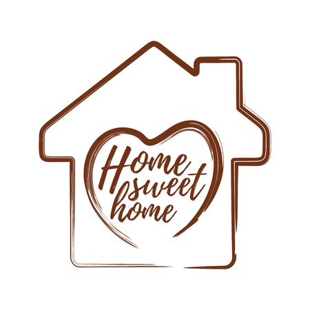 Conceptual motivational inscription on the background of a wooden house - Home sweet home. Heart symbol on house silhouette background. Vector illustration Stock Illustratie