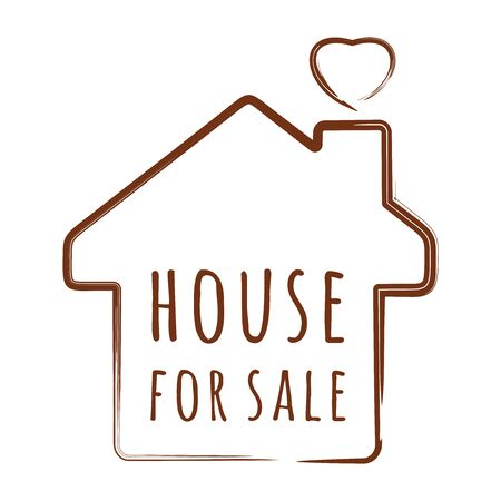 House silhouette with an inscription inside - House for sale. Vector illustration isolated on white Stock Illustratie