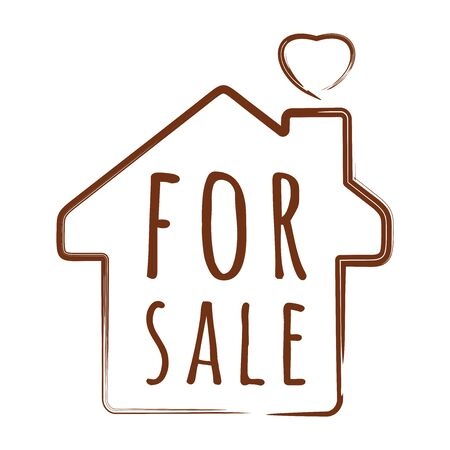 House silhouette with an inscription inside - for sale. Vector illustration isolated on white Stock Illustratie