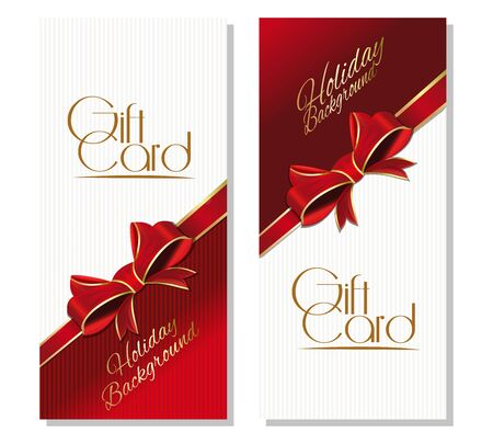 Gift card. Holiday Background with red ribbon
