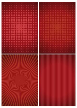Set of red abstract vintage retro backgrounds