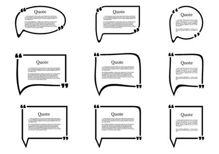 Set of frames isolated on white background. Speech frame for text. Quote text. Text quote frame.
