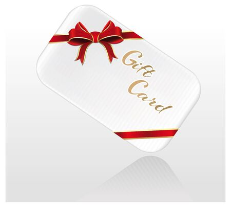 Decorated gift card with red ribbons and bow. Stock Illustratie