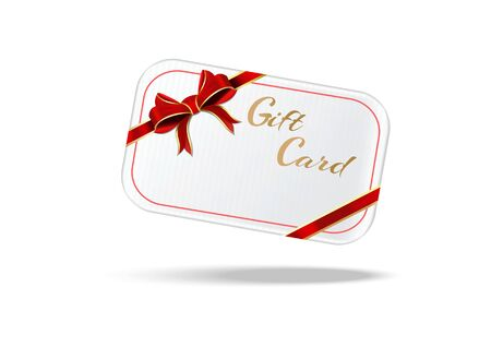 Gift card with red ribbons and bow. White realistic gift card. Vector illustration isolated on white background