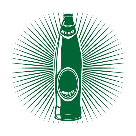 Beer bottle isolated logo. Beer label. Beer bottle icon isolated on white background. Vector illustration