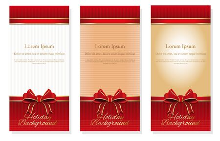 Three holiday background with red bows and copy space, booklet cover design templates collection. Vector illustration