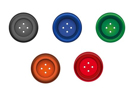 Set of multi-colored sewing button for clothes. Stud icon. Vector illustration Stock Illustratie