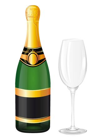 Sealed bottle of champagne and empty wine glass. Vector illustration