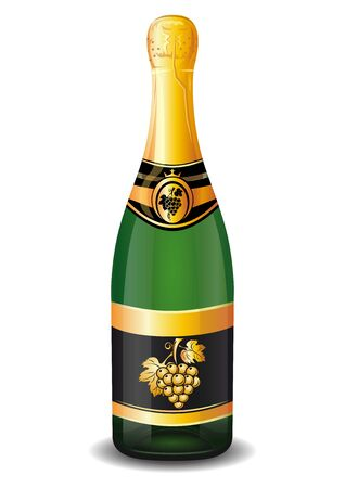 Champagne bottle with gold foil. Bottle of champagne with a golden bunch of grapes on the label. Vector illustration isolated on a white