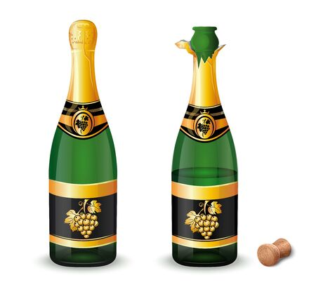 Uncorked and closed champagne bottles with a label with a golden bunch of grapes. Vector illustration