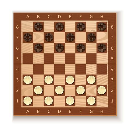 Checkers and chess board. White and black chips placed on the board. Ancient Intellectual board game. Vector illustration