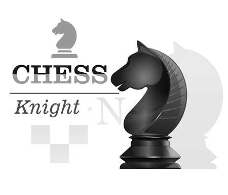 Black chess knight. Concept design. Vector icon Illusztráció